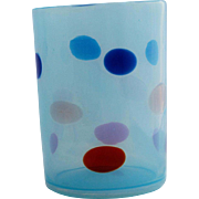 Murano Art Glass Blue Opalescent Coin Spot Dot Tumbler