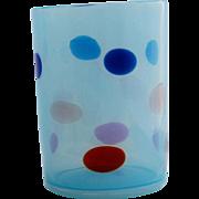 Murano Art Glass Blue Opalescent Coin Spot Dot Tumbler