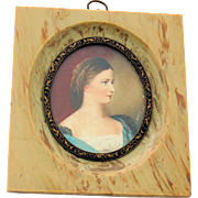 Miniature Portrait Hand Painted Lovely Lady Artist Signed - Faux Marble Stone Bronze Frame