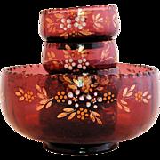 Victorian Northwood Amethyst Glass Berry Bowl Set Enameled Flowers ca. 1904-06