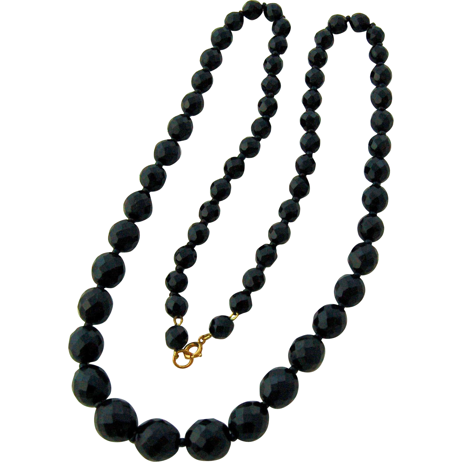 Jet Black Crystal Bead Necklace Strand Extra-long Sparkling Multi-faceted Beads