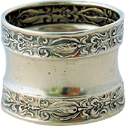Antique Sterling Silver Napkin Ring Art Nouveau Repousse Stylized Fish