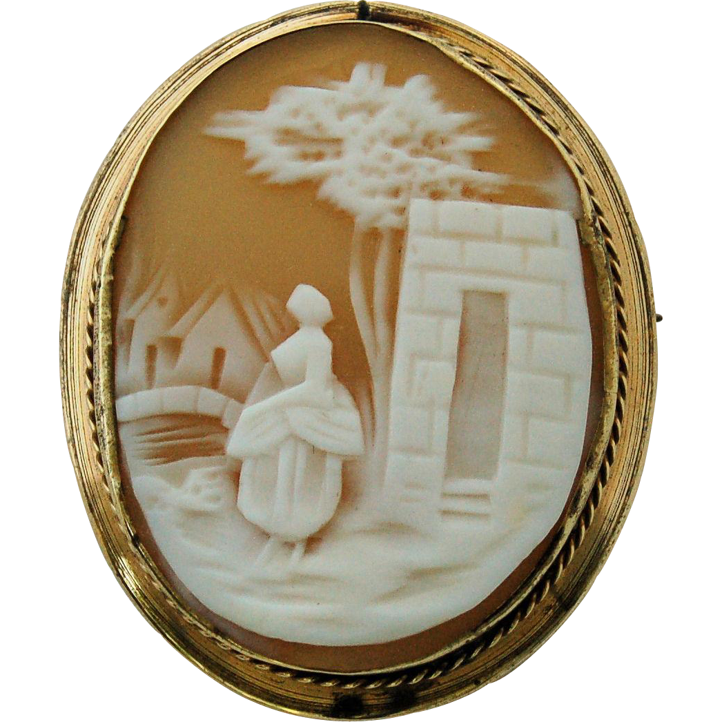 Victorian Carved Shell Cameo Brooch Pin Gold Filled Frame