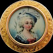 Antique Victorian Miniature Portrait Pin 14k Yellow Gold Frame 19th Century