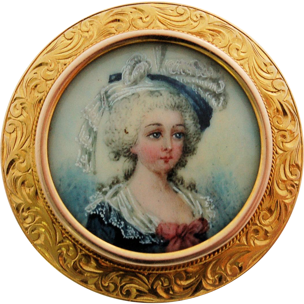 Victorian Miniature Portrait Pin 14k Yellow Gold Frame 19th Century Antique