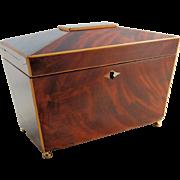Antique Wooden Tea Caddy Mahogany Walnut Inlay -  Escutcheon Lock - Sarcophagus Shape