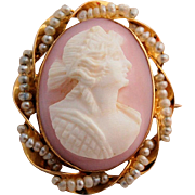 Antique Edwardian Cameo 10k Yellow Gold Hand-carved Pink Shell Seed Pearls