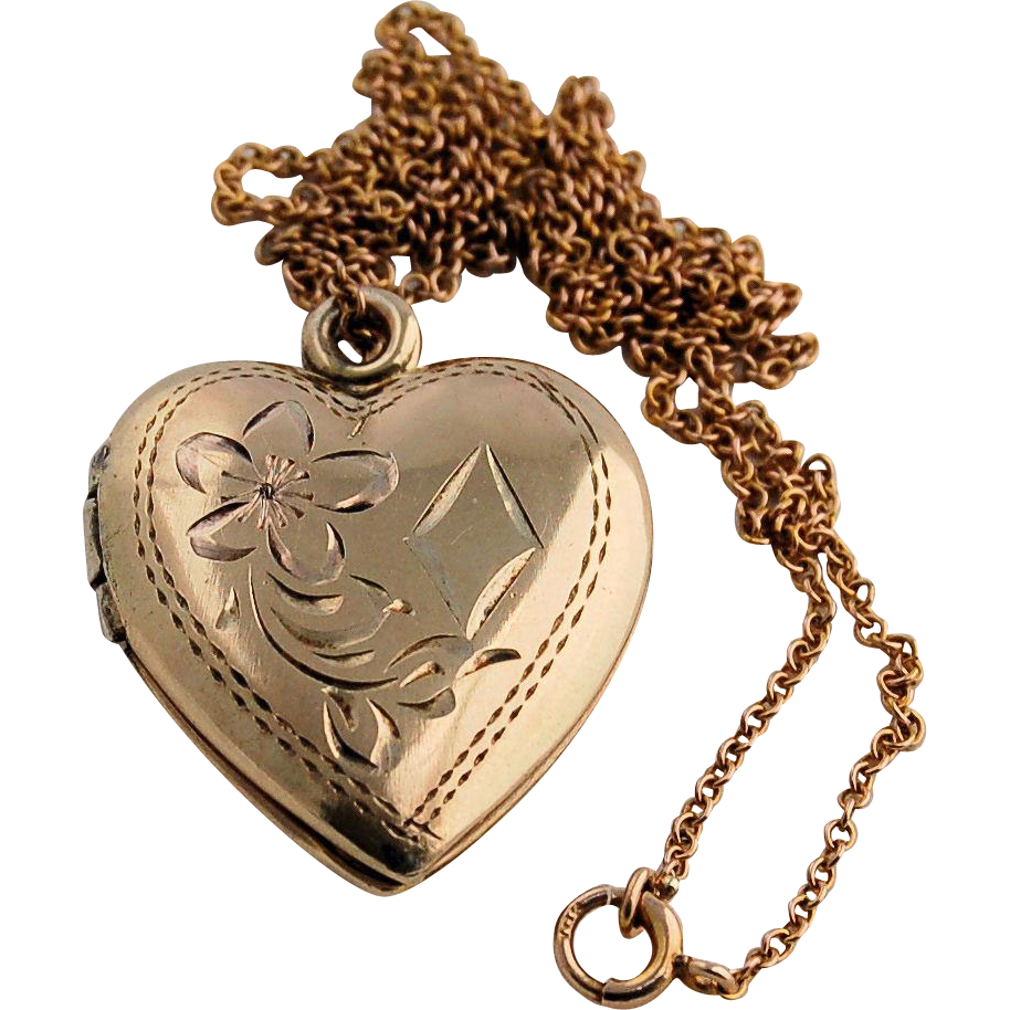 10k Yellow Gold Chain Necklace and Engraved Vintage Double Heart Locket