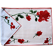 Vintage Vera Belgium Linen Placemats and Napkins Eight Piece Set Lord and Taylor Roses Original Silk Screen Textile