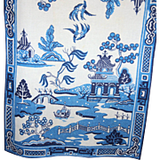 Two Vintage Blue Willow Linen Kitchen Tea Towels Original Silk Screen Textile