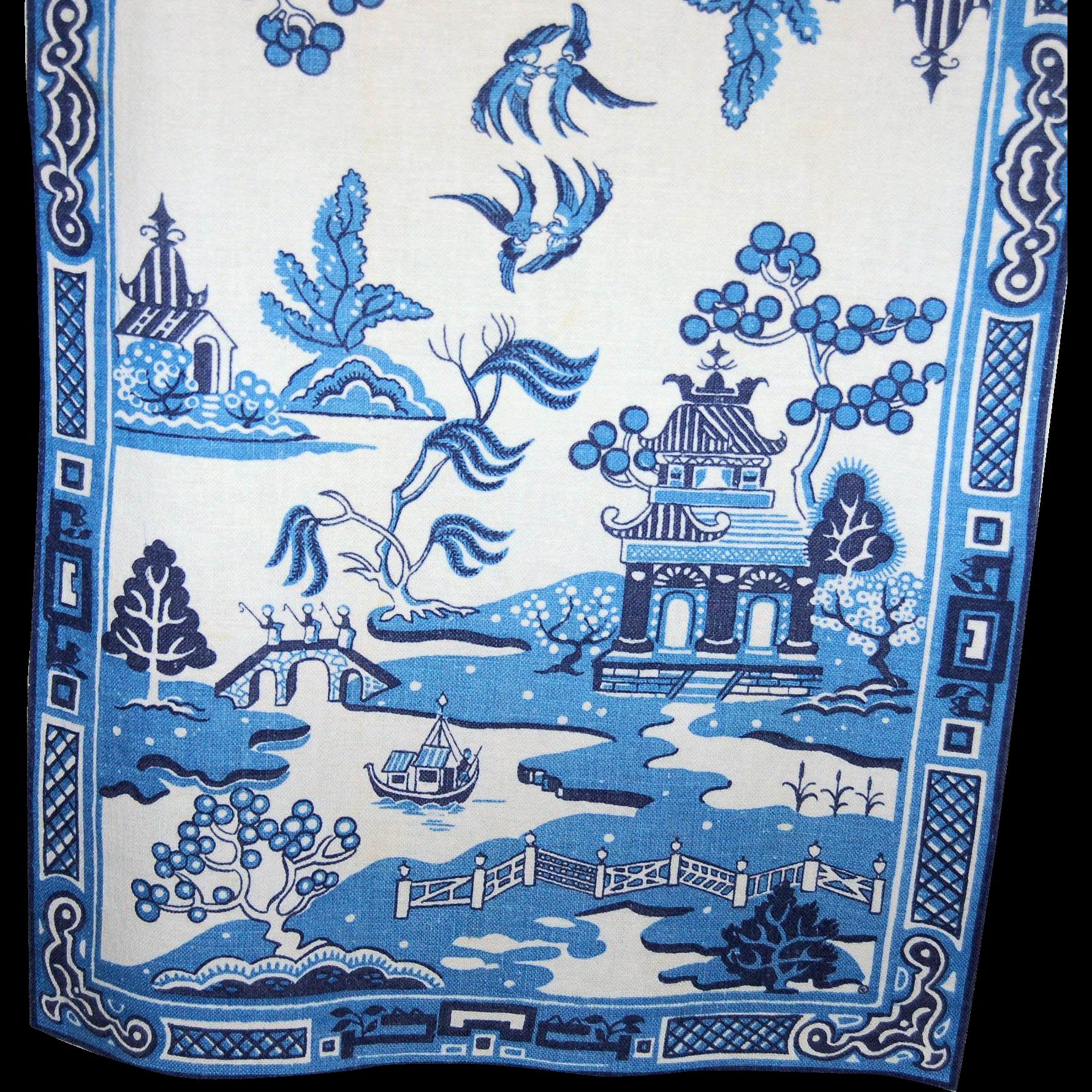 Two Vintage Blue Willow Linen Kitchen Tea Towels Original Silk Screen  Textile