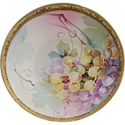 Nippon Centerpiece Bowl Grapes Decoration Hand Painted Ornate Raised Gold Heavy Moriage Beading