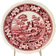 Vintage Copeland Spode's Tower England Salad Plate Pink Red, circa 1954