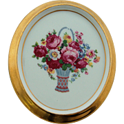 Porcelain Germany Plaque Oval German Medallion Cabbage Roses Bouquet Wall Hanging