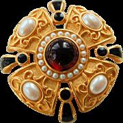 Vintage Monet Brooch Etruscan Revival Maltese Cross Gold Plated Pin