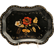 Antique Toleware Tray Folk Art Tin Metal Scalloped Hand Painted Flowers Gold Stencil on Black