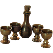 Miniature Dollhouse Brass Goblets Decanter Set Vintage Doll House Accessory