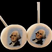 Miniature Portrait of President George Washington Hat Pins Two Matching Vintage Porcelain Hand Painted Hatpins