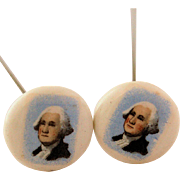 Miniature Portrait of President George Washington Hat Pins Two Matching Vintage Porcelain Hand Painted Hatpins