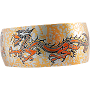 Damascene Dragon Cuff Bracelet Reed Barton Vintage Two Dragons