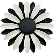 Chanel Enamel Flower Pin VIP Gift Black White Signature Quilted Center Design