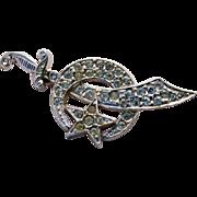 Vintage Scimitar Brooch Pin Shriner Mason Crescent Moon and Star Rhinestones Silver Tone