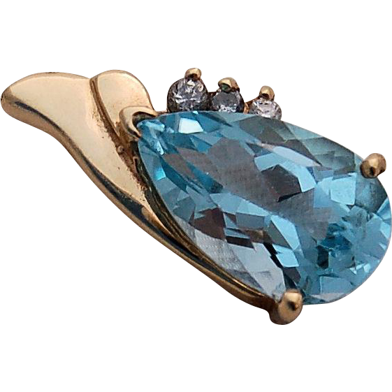 14k Gold Blue Topaz Pendant Three Diamond Accents Large 5 carat Pear Shape