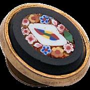 Antique Victorian Micro-mosaic Pietra Dura Gold Lapel Stud Button Micro Mosaic