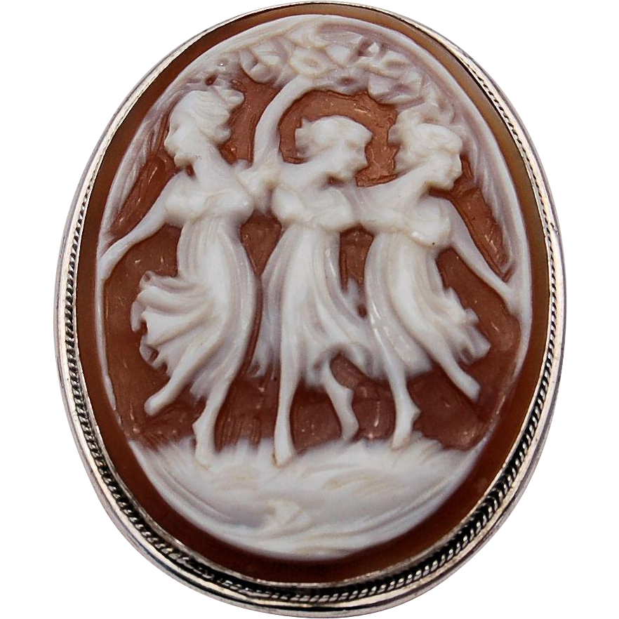 Vintage Sterling Silver Three Graces Cameo .925 Hand Carved Sardonic Shell Pin Pendant