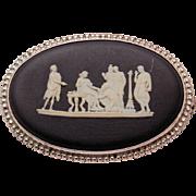Vintage Wedgwood Sterling Silver Black Basalt Cameo Brooch Pin