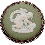 Vintage Wedgwood Sage Green Jasperware Sterling Silver Cupid Cameo Brooch Pin