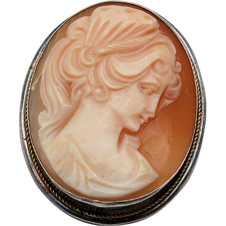 Vintage Shell Cameo Sterling Silver 925 Brooch Pin Pendant Hand Carved Lovely Lady in Profile