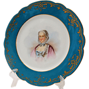 Antique Sevres Chateau des Tuileries Portrait Cabinet Plate of Madame Pompadour French Gilt Porcelain 19th Century circa 1845