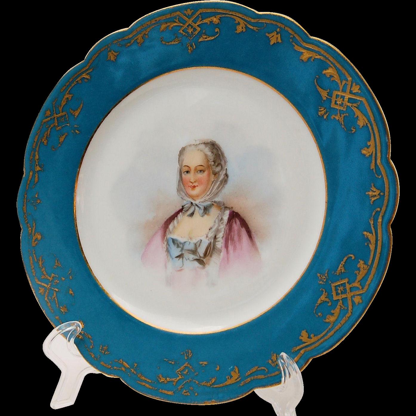 Sevres Chateau des Tuileries Portrait Cabinet Plate of Madame Pompadour Antique circa 1845
