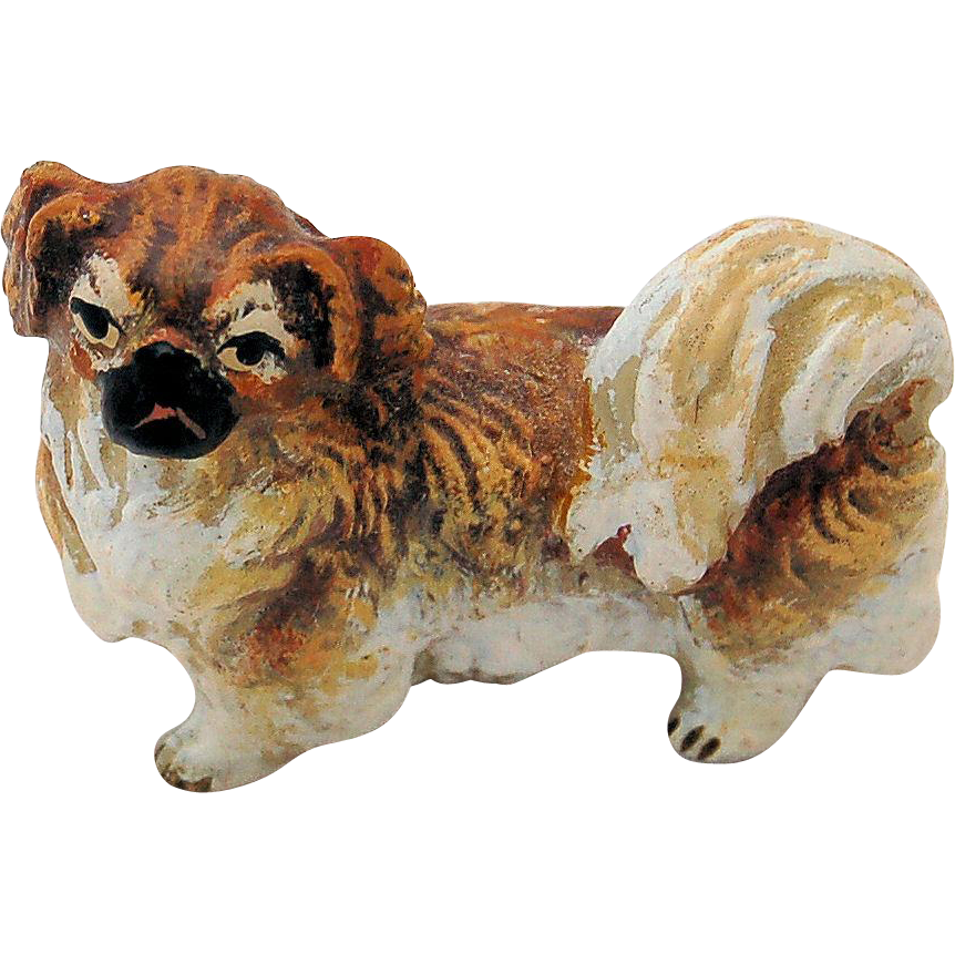 Austrian Vienna Cold Painted Bronze Pekingese Dog Figurine Marked Austria Dollhouse Miniature Pekinese or Shih Tzu