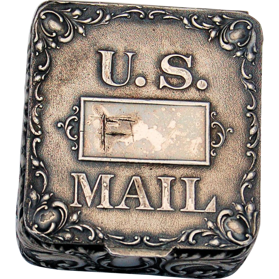 Vintage Postage Stamp Box Silver Plated by Homan Company 1847-1941 U.S. Mail