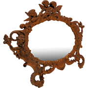Art Nouveau Cherub Tabletop Mirror Picture Frame Ornate Cast Iron Metal Gilt Painted