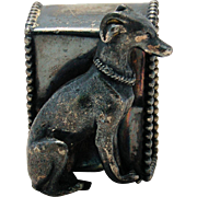 Victorian Antique Silverplate Figural Napkin Ring Sitting Dog Greyhound Whippet Silver Plate Beaded Edge