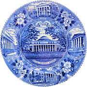 Vintage George Peabody College for Teachers Plate Old Staffordshire Ware Blue Transferware