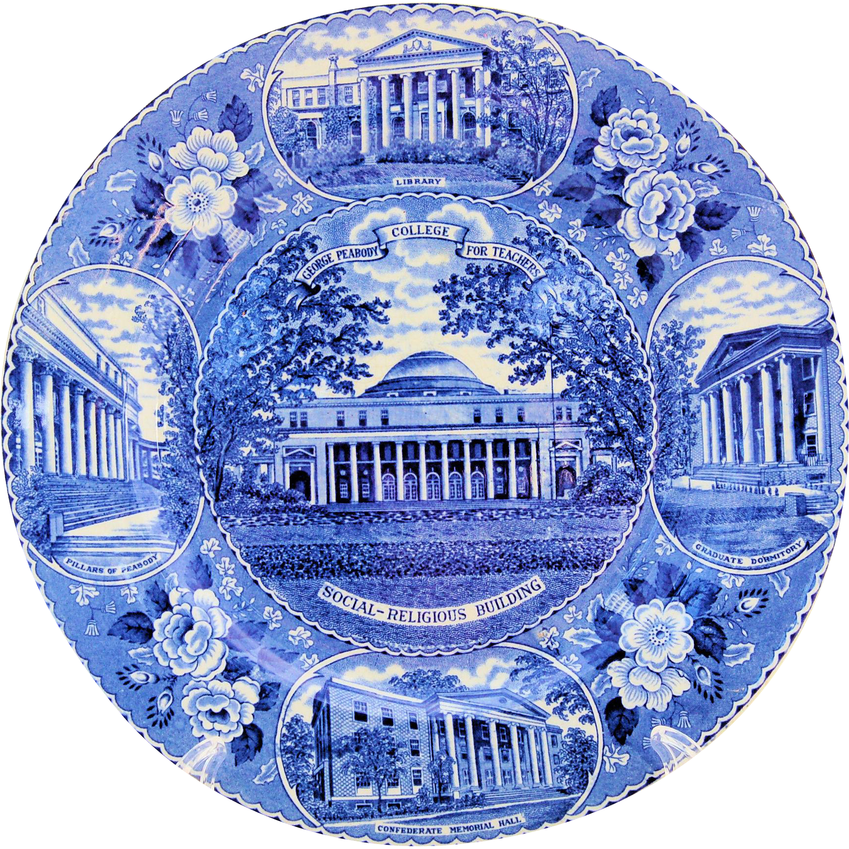 Staffordshire Blue Transferware George Peabody College for Teachers Commemorative Plate