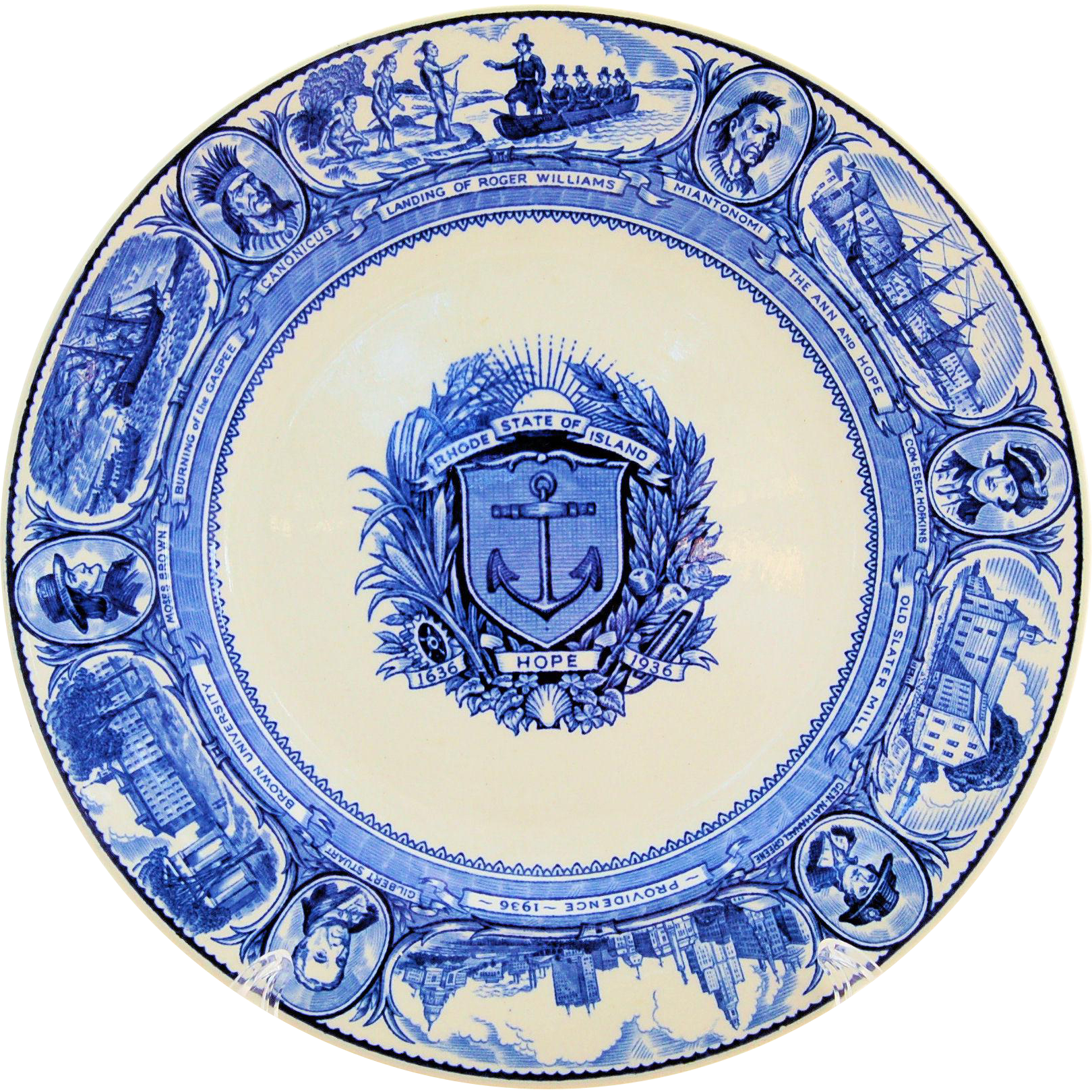 Wedgwood Blue Transferware Rhode Island Tercentenary Plate 1636-1936 Limited First Edition
