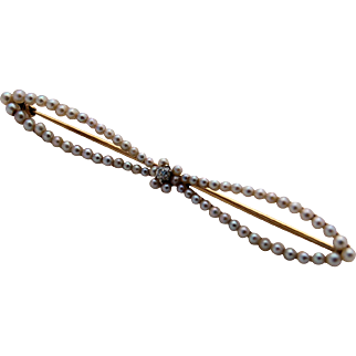 Seed Pearl Diamond Pin 14k Gold Bow Pin Late Victorian Edwardian Antique circa 1886-1910