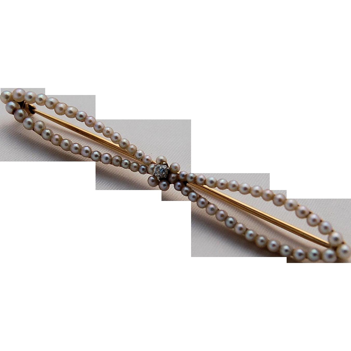 14k Gold Pearls Diamond Bow Pin Late Victorian Edwardian Antique circa 1886-1910