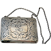 Late Victorian Edwardian Sterling Silver Dance Purse Calling Card Case Antique