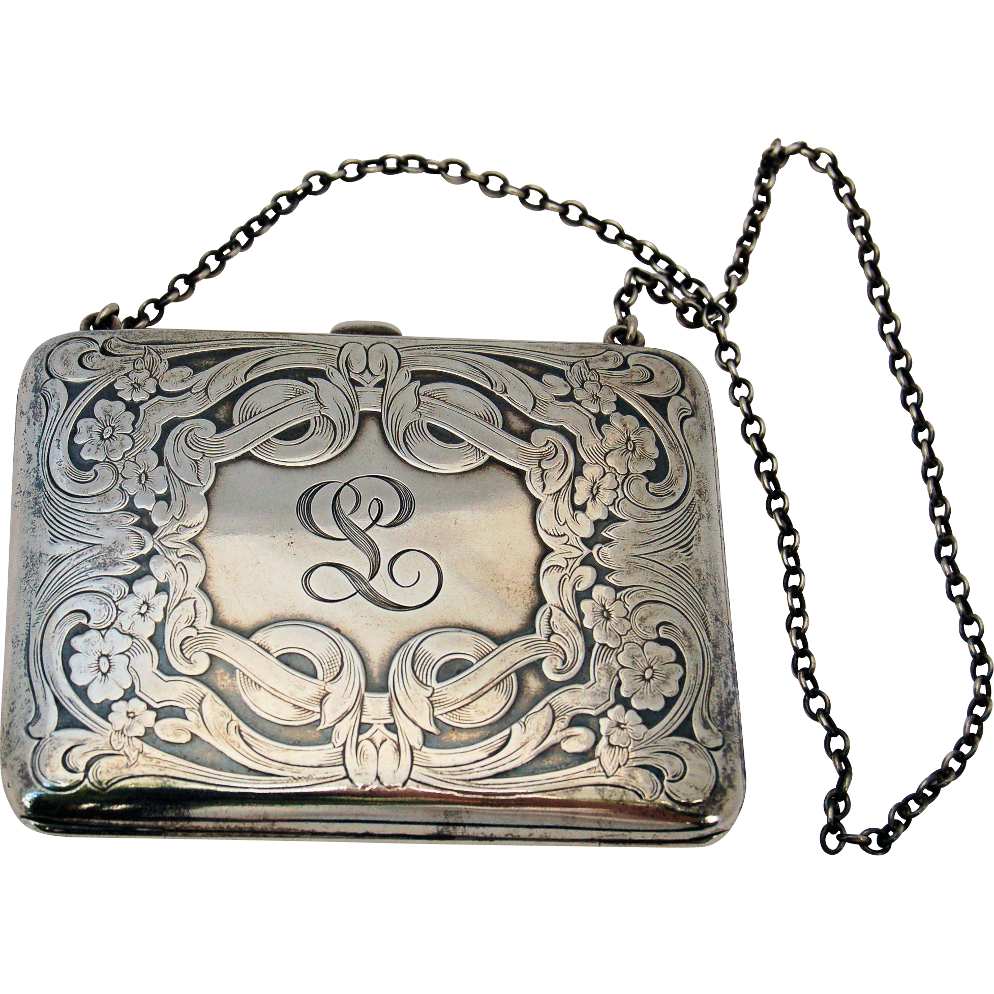 Victorian Sterling Silver Dance Purse Calling Card Case Antique ...