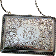 Late Victorian Edwardian Sterling Silver Purse Evening Bag Hand Chased Ornate Flowers Design
