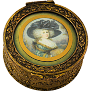 Antique French Trinket Box Miniature Portrait Bronze Gilt Velvet Cushion Lining Marked France