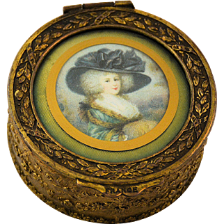 Antique French Bronze Hinged Trinket Box Miniature Portrait of Lovely Lady Velvet Cushion Lining Made in France