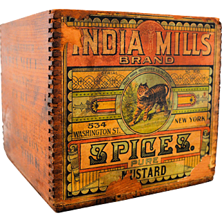 Wooden Advertising Box India Mills Brand Spices Pure Mustard Original Paper Label Vintage