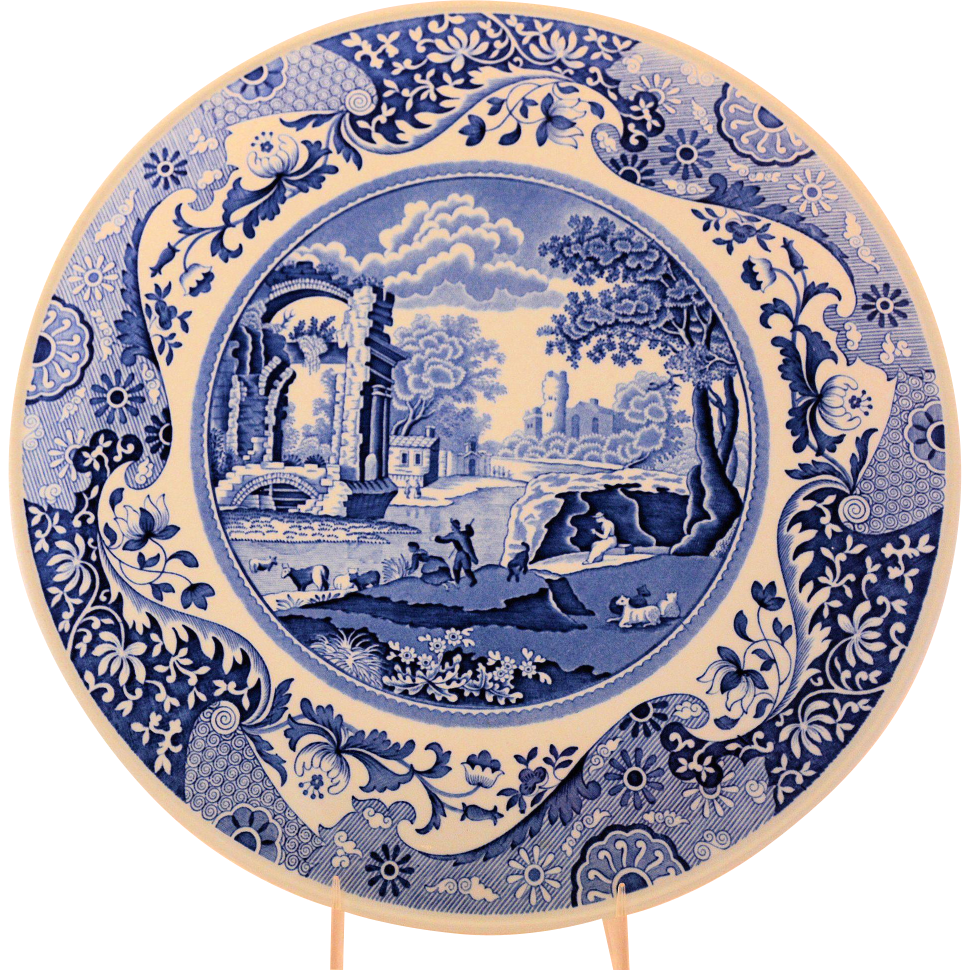 Spode Blue Transferware Cake Serving Plate Italian Pattern